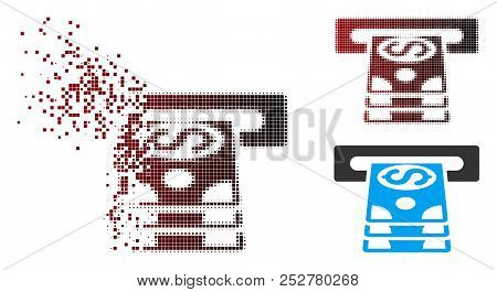 Vector Bank Cashpoint Icon In Dissolved, Pixelated Halftone And Undamaged Solid Versions. Disintegra