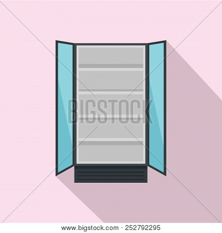 Open Commercial Fridge Icon. Flat Illustration Of Open Commercial Fridge Icon For Web Design