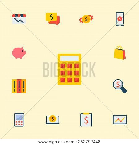 Set Of Economy Icons Flat Style Symbols With Money Set, Piggy Bank, Financial Task And Other Icons F