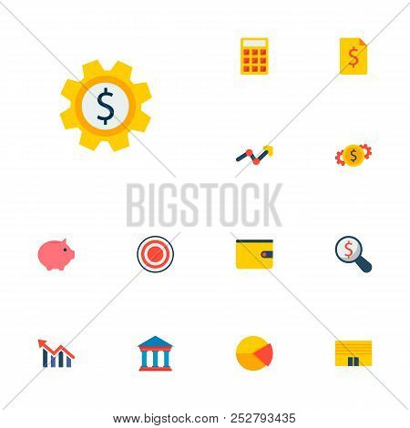 Set Of Economy Icons Flat Style Symbols With Currency, Set Money, Calculate And Other Icons For Your