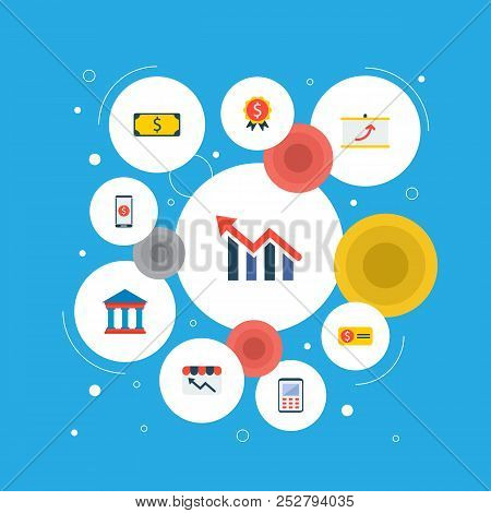 Set Of Finance Icons Flat Style Symbols With Calculator, Financial Award, Financial App And Other Ic