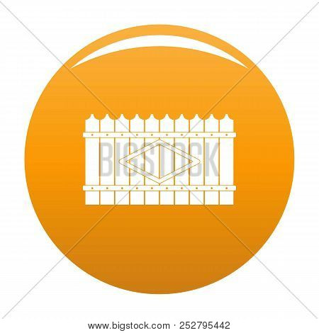 Wooden Peak Fence Icon. Simple Illustration Of Wooden Peak Fence Icon For Any Design Orange