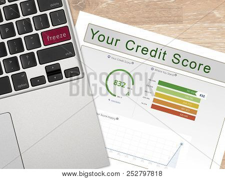 Laptop With Freeze On The Red Key By Credit Score Report As Concept For New Law Allowing Free Credit