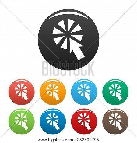 Cursor Interactive Click Icon. Simple Illustration Of Cursor Interactive Click Icons Set Color Isola