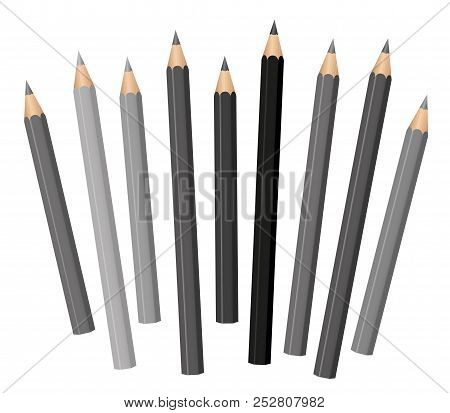 Gray Pencils - Different Shades And Lengths - Loosely Arranged - Gray Tones From Light Gray To Deep