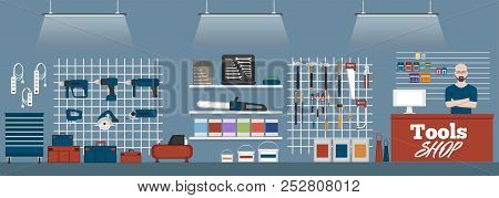 Salesman In Tools Shop Interior Banner. Assortment Of Hand Instruments And Power Tools. Showcase Of