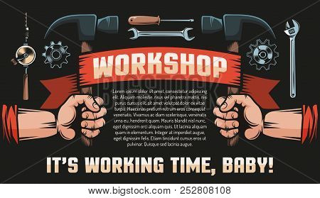 Workshop Diy Vintage Retro Poster - Hands With Hammers