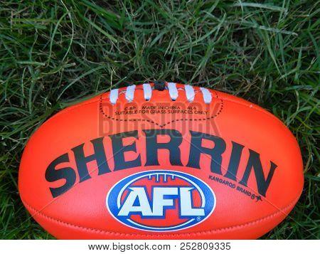 Australian Rules Football, Gold Coast Australia, 8/8/2018, Close Up Of An Australian Rules Football