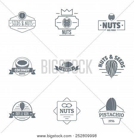 Filbert Logo Set. Simple Set Of 9 Filbert Vector Logo For Web Isolated On White Background