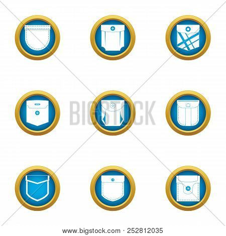 Outside Pocket Icons Set. Flat Set Of 9 Outside Pocket Vector Icons For Web Isolated On White Backgr