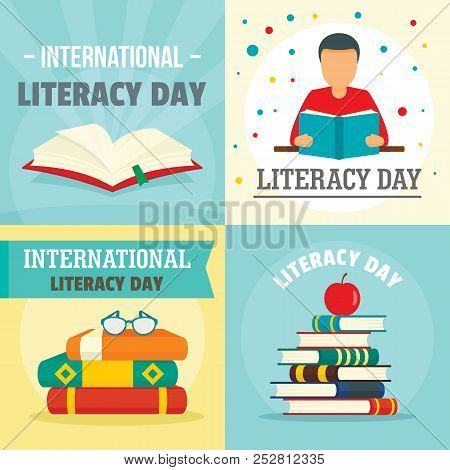 Literacy Day Book International Library Banner Concept Set. Flat Illustration Of 4 Literacy Day Book