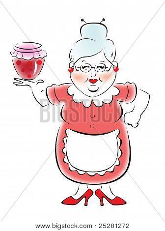 Grandmother holding a jar of jam
