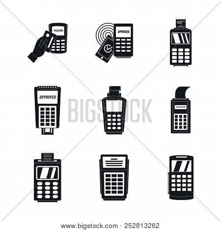 Bank Terminal Card Credit Machine Icons Set. Simple Illustration Of 9 Bank Terminal Card Credit Mach