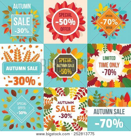 Autumn Sale Leaves. Halloween And Thanksgiving Fall Season Banner Concept Set. Flat Illustration Of