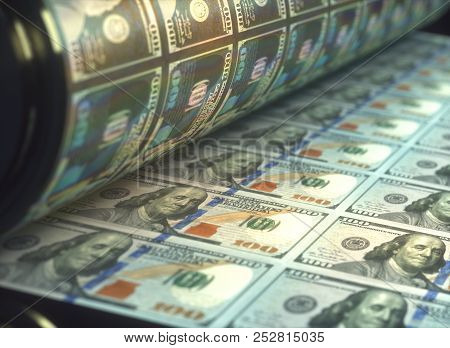 3d Illustration. Printing Us Dollar Bills. Concept Of United States Economy, Buying And Selling Bank