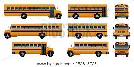 School Bus Back Kids Icons Set. Realistic Illustration Of 9 School Bus Back Kids Vector Icons For We