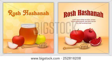Rosh Hashanah Jewish Holiday Apple Honey Banner Concept Set. Realistic Illustration Of 2 Rosh Hashan