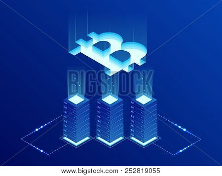 Isometric Bitcoin Bit Cryptocurrency Mining Farm. Blockchain Technology, Cryptocurrency And A Digita