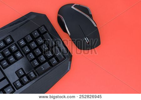 Workspace With A Keyboard And Mouse On A Red Background. Copyspace. Black Mouse, Keyboard Isolated O