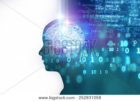 Silhouette Of Virtual Human And Nebula Cosmos  3D Illustration