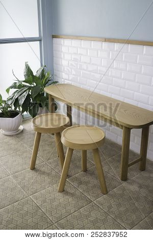 Wooden Seat Furniture In Minimal Style Room, Stock Photo