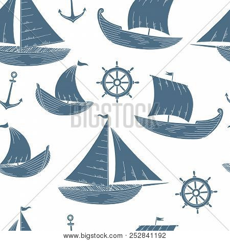 Boat Graphic Blue Color Sketch Seamless Pattern Background Illustration Vector