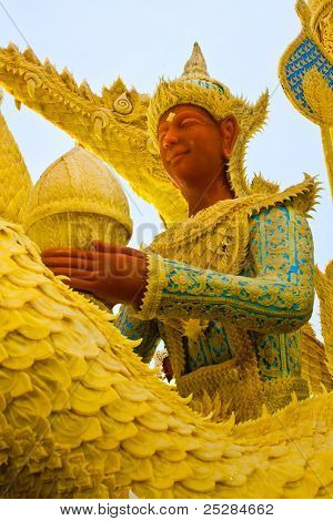 Thai Style Wax Angel Statue  In Candle Festival At Ubonratchathani,  Thailand.