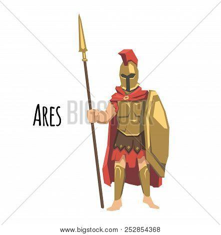 Ares, Ancient Greek God Od Of War. Mythology. Flat Vector Illustration. Isolated On White Background