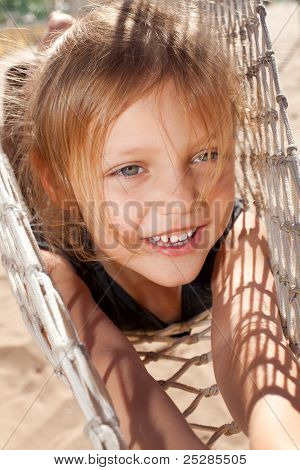 little girl in hammock