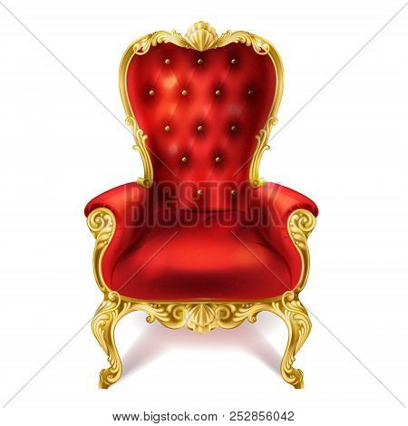Illustration Of An Ancient Red Royal Throne Isolated On White Background In Realistic Style. Gilded