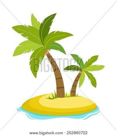 Tropical Palm On Island With Sea Waves Vector Illustration Isolated White Background. Beach Under Pa