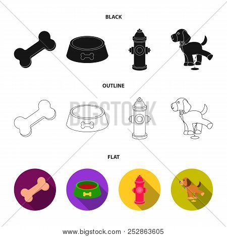 A Bone, A Fire Hydrant, A Bowl Of Food, A Pissing Dog.dog Set Collection Icons In Black, Flat, Outli