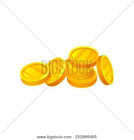 Pile Of Shiny Golden Coins. Money And Finance Theme. Unit Of Currency. Decorative Flat Vector Elemen
