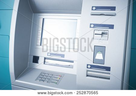 Atm Cash Machine, Operating And Functional, No People Around