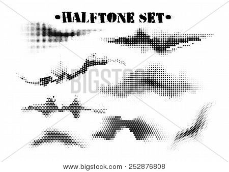Halftone Sound Wave Black And White Patterns Set. Tech Music Design Elements Isolated On White Backg