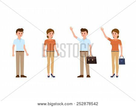 Man And Woman Office Clerks Cartoon Characters. Coworkers With Waving Hands