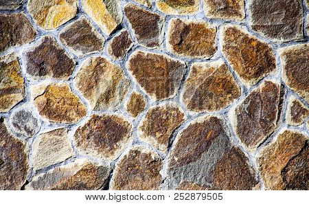 Texture Of Old Rock Wall For Background. Old Grey Stone Wall Background Texture Close Up