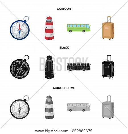 Vacation, Travel, Lighthouse, Compass .rest And Travel Set Collection Icons In Cartoon, Black, Monoc