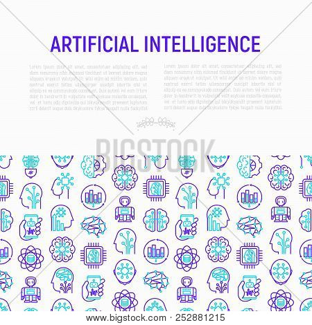 Artificial Intelligence Concept With Thin Line Icons: Robot, Brain, Machine Learning, Marketing Anal