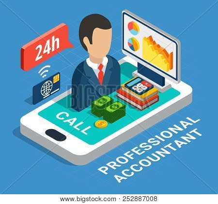Professional Accountant Isometric Composition On Blue Background With Banking Consultant, Smart Phon