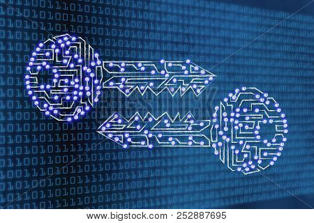 Encryption And Cryptography Conceptual Illustration: Digital Keys With Led Lights On Binary Code Bac