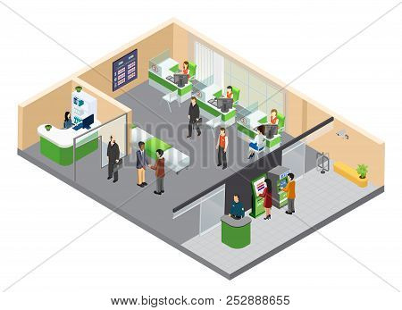 Bank Isometric Composition With Indoor View Of Bank Branch With Working Clerks And Customer Human Ch