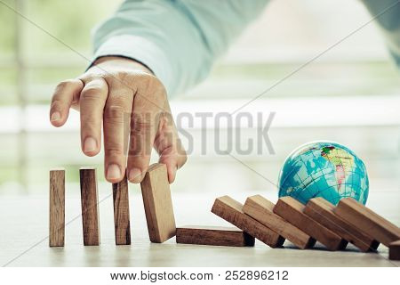 Strategy Planning Risk In Business Concept : Businessman Or Engineer Use Hand Stopping Wooden Block