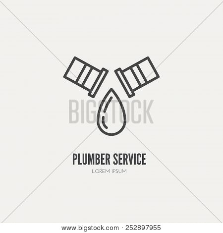 Modern Line Style Logo For Repair Company Or Plumbing Service Provider With Leaking Pipe. Isolated D