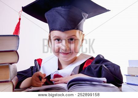 Curriculum Vitae Of Judge. Portrait Of Serious Child Girl Judge (lawyer) Answers Biographical Questi