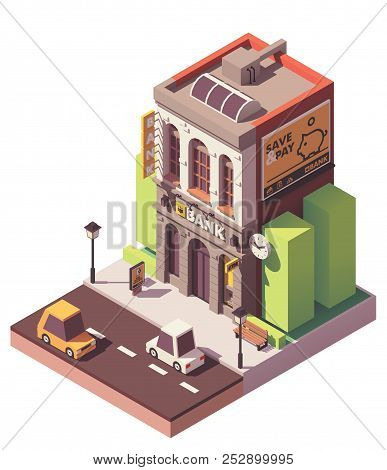 Vector Isometric Bank Building With Atm And Banking Services Related Billboard Advertising