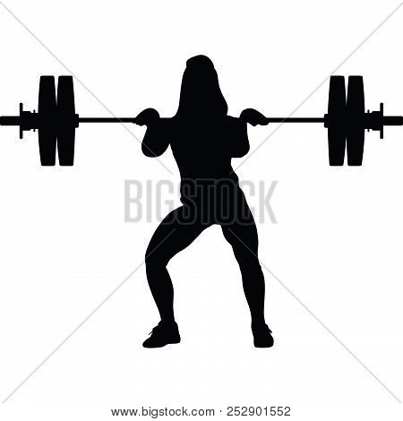 Girl Exercise Weight Lifting Silhouette Vector Black