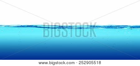 Abstract waterline background with white copy space. Underwater background. Clean water with bubbles. 3D rendering.