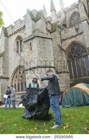 Occupy Exeter Supporters And Participants Erect Their Tents At The Occupy Exeter Site Of Exeter Cath