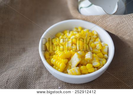 Boiled Corn In Whit Bowl (ingredient) For Cook